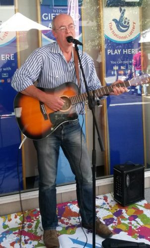Graham Armfield busking in Woking, September 2015